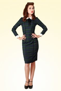 Collectif Clothing - 40s Lisa Retro Blackwatch Check Pencil Dress