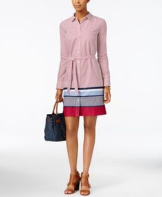 Tommy Hilfiger Dot-Print Striped Shirtdress | macys.com