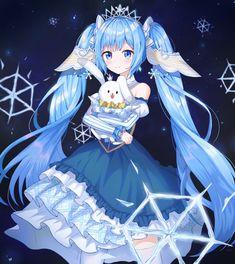Vocaloid, Hatsune Miku, Twintails, Aqua Hair, Yuki Miku, Blue Eyes