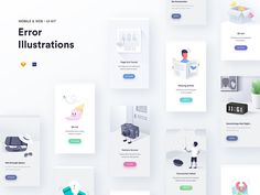 Illustration Kit for Mobile and Website Errors. Full preview & Early rough sketches attached :D   -----  FULL PREVIEW :  https://www.behance.net/gallery/57693817/Error-Illustrations-Empty-State...