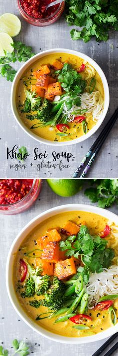 This aromatic #thai soup inspired by a classic #khaosoi soup, is spicy, warming and filling. It's naturally #vegan and #glutenfree. #recipe #recipes #vegetarian #entree #dinner #lunch #curry #pumpkin