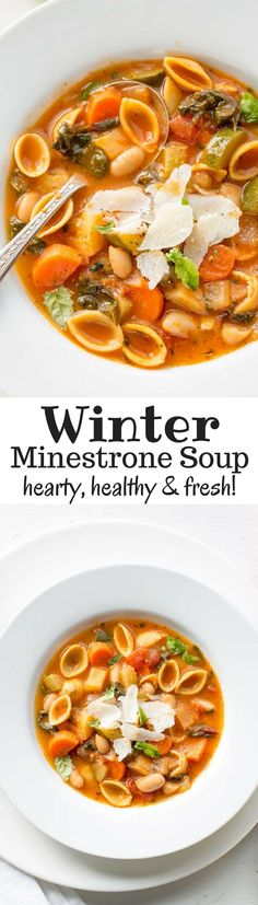 Winter Minestrone Soup ~ hearty, healthy and loaded with fresh seasonal vegetables. Featuring Chickapea Pasta, Swiss Chard, onion, carrots, celery, zucchini, potato and cannellini beans. Freezes beautifully! http://www.savingdessert.com