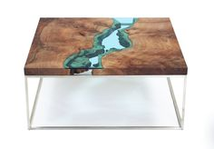 "natural, modern coffee tableclaro walnut burlstainless steel base*one-of-a-kind*33"" x 33"" x 16"""