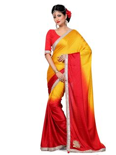 Avanya Red & Yellow Colour Crepe Jacquard Moti & Patch Work Saree With Unstitched Blouse Piece