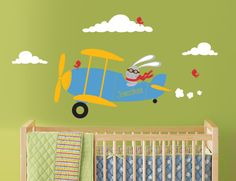 Airplane Wall Decal Bunny Rabbit Flying a by InAnInstantArt, $42.00