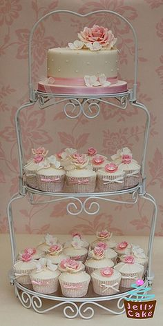 Dusky Pink Wedding Cupcake Tower #nutsdotcom #wedding