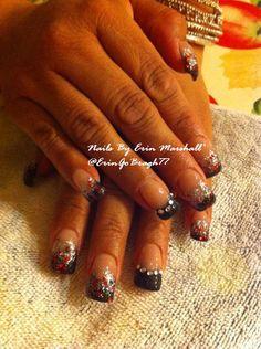 silver, black and red Acrylic nails #nailart  Www.facebook.com/eMarshallArts77