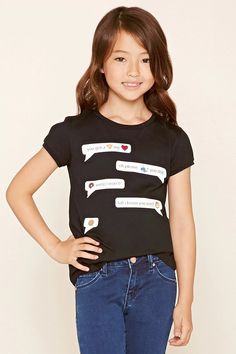 "Forever 21 Girls - A knit tee featuring a conversation graphic that starts ""You Got a Pizza My Heart,"" short sleeves and a round neckline."