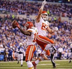 a6ffc5b00 Colts  October 2016 - Chiefs - Kansas City Chiefs  Tyreek Hill and Travis  Kelce celebrate a touchdown catch by Hill during the second half of an NFL  ...