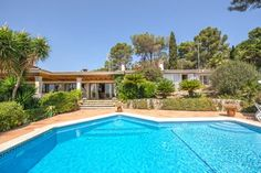 This luxury villa is located in Son Vida  Palma de Mallorca  It offers spectacular views to Palma  the cathedral  Castell Bellver and the sea and bay of Palma
