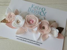 Felt Flower Hair Crown with Tulle, Pearl, Leatherette and Glitter Detail //Handmade Item //Newborn-Teen //Gift-wrapped // Special Occasion by KateandDaisyHandmade on Etsy