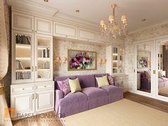 Фото дизайн интерьера гостиной из проекта «Дизайн однокомнатной квартиры 48 кв.м. в классическом стиле, ЖК «Жемчужный фрегат» »