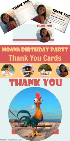 Is your little princess having a Moana birthday party? Keep with the theme to the very end with these free printable Moana thank you cards.