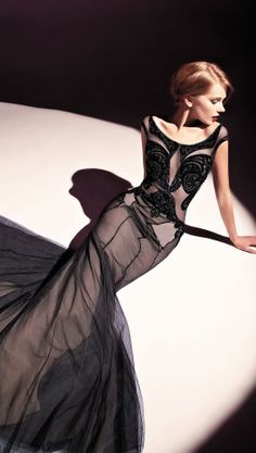 Dany Tabet Couture black lace gown F/W 2013-2014