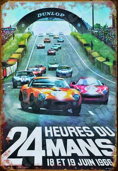 Metal sign for the 1966 24 Hours of Le Mans. The 34th running of the legendary race marked the first win at LeMans for the Ford GT40 and the first win for an American car company. Ford swept by the podium, with Bruce McLaren and Chris Amon taking the win, followed closely by the GT40's of Ken Miles and Denny Hulme in P2, and Ronnie Bucknum and Dick Hutcherson in P3. Artwork by by automotive artist Michel Beligond (1927-1973).