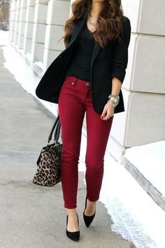 How to Wear Burgundy Pants - How to Wear Burgundy Colored Pants – The Asteris. - How to Wear Burgundy Pants – How to Wear Burgundy Colored Pants – The Asterisk Boutique – Source by g_lieder - Business Casual Outfits For Women, Casual Work Outfits, Business Outfits, Mode Outfits, Work Casual, Fall Outfits, Fashion Outfits, Business Attire, Smart Casual