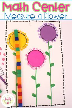 Is Here - Fun Flower Activities for Math and Literacy Spring Math Centers for kindergarten! Includes this Measure a Flower activity!Spring Math Centers for kindergarten! Includes this Measure a Flower activity! Preschool Themes, Preschool Lessons, Kindergarten Activities, Preschool Activities, Spring Theme For Preschool, Preschool Flower Theme, Math Center Rotations, Math Centers, Spring Activities