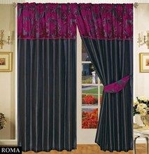 Half Flock with Plain Design Fully Lined Ready Made Pencil Pleat Curtains - Black with Aubergine / Purple - RV Your Price: £19.99