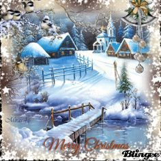 Merry Christmas Gif, Merry Christmas Pictures, Christmas Scenery, Woodland Christmas, Christmas Villages, Vintage Christmas Cards, Christmas Love, Outdoor Christmas, Christmas Themes