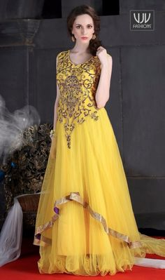 Buy Now @ http://goo.gl/xE2Tcf  Brilliant Yellow Color Net Floor Length Gown  This yellow net floor length gown is adding the beautiful glamorous displaying the sense of cute and graceful. You could see some intriguing patterns carried out with embroidered and zari work  Product No  VJV-OCCE8000  @ www.vjvfashions.com  #gown #gowns #indiangown #indianwedding #designergown #fashions #trends #cultures #india #instagood #weddingwear #designer #ethnics #clothes #glamorous #indian #beautifulgown…