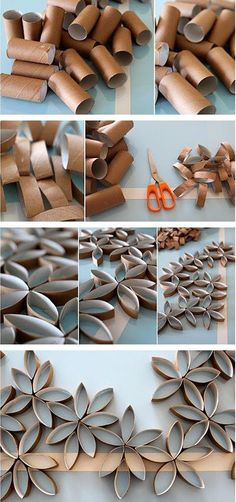 Easy crafts for Valentine& Day: DIY Flowers - DIY Handfie - Floral mural with cardboard roll of reused toilet paper to decorate with flowers on Valentine& - Diy Home Crafts, Diy Crafts To Sell, Diy Crafts For Kids, Easy Crafts, Diy Para A Casa, Mural Floral, Toilet Paper Art, Cardboard Rolls, Paper Crafts Origami