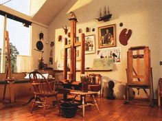 Norman Rockwell's Studio. Stockbridge, MA. The studio was moved to the Norman Rockwell Museum grounds and left as it was during the last years of Rockwell's life.