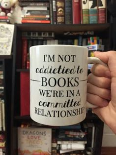 bookphile: A mug I got from my precious books-cupcakes' redbubble store. It speaks the truth. My name is Marina and I'm in a committed relationship with books. I Love Books, Good Books, Books To Read, My Books, Book Of Life, The Book, Book Memes, Funny Book Quotes, Book Sayings