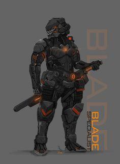 //Short-Medium Ranged combat, Stealth // STANDARD: PLASMA SWORD, ARM MOUNTED SUPPRESED Sub Machine Gun. // G74-SX // Wacom Intuos 4 M // Adobe PS CS6 // Inspirations: Blacklight: Retribution, Ghost...