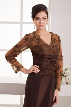 V-neck Appliques Long Sleeves Mermaid Mother of the Bride Dress