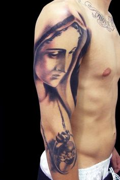 the virgin mary sleeve tattoo