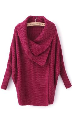 Thick hand-knit oxblood sweater. Love the oversized lapel detailing. Get a free scarf and 50% off jewelry in Christmas Offer.