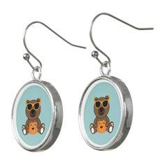 Cool cute Halloween bear sunglasses pumpkin Drop Earrings by #PLdesign #Halloween #HalloweenGift