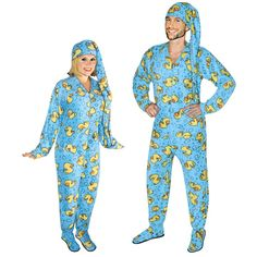 Rubber Ducks Footed Pajamas for Adults with Drop Seat and Long Night Cap, Pajama City - 1