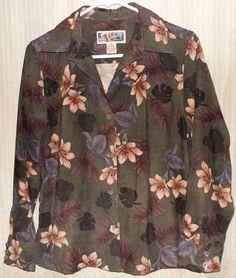 Green floral soft brushed fabric shirt-jacket buttons, Petite Medium LA CABANA #LaCabana #BasicJacket #Casual