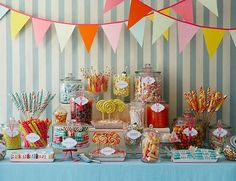 high end paris desserts | Candy Shop Dessert Table filled with nostalgic candy, old-fashioned ...