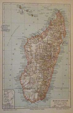 1896 MADAGASKAR AFRIKA alte Landkarte Karte Antique Map Lithographie