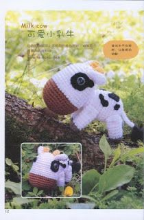 Little Cow Amigurumi - Free Japanese Chart Pattern - ( 3 pages, download Pictures to Read details) http://charocrochetpatrones.blogspot.com.ar/2011/04/vaquita.html