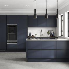 Luxury Kitchen Design, Kitchen Room Design, Home Decor Kitchen, Kitchen Interior, Home Kitchens, Minimal Kitchen Design, Open Plan Kitchen Dining, Kitchen Dining Living, Navy Kitchen Cabinets