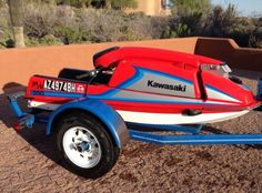 KAWASAKI 80'S 550 Model (Stand Up) and 2 Jet Ski Trailor... Great Condition! Kawasaki Jetski, Jet Ski Kawasaki, Boy Toys, Toys For Boys, Water Crafts, Stand Up, Bro, Boats, Skiing