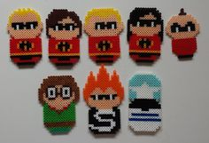 The Incredibles perler beads by Joanne Schiavoni Hama Beads Disney, Perler Beads, Pearler Bead Patterns, Perler Patterns, Art Perle, Motifs Perler, 8bit Art, Fusion Beads, Iron Beads