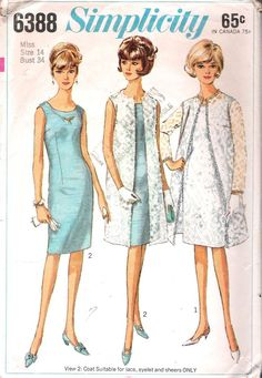 VINTAGE DRESS COAT 60s SEWING PATTERN SIMPLICITY 6388 SIZE 14 BUST 34 HIP 36 CUT