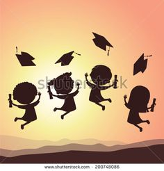 Immagine vettoriale stock 200748086 a tema Graduation Kids Silhouette School Kids Jumping (royalty free) Graduation Crafts, Kindergarten Graduation, Graduation Decorations, Graduation Day, School Decorations, Kids Silhouette, Silhouette School, Board Decoration, Class Decoration