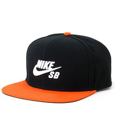 Get a new iconic look with a white Nike SB Swoosh raised embroidery on a black crown with a contrasting orange bill.