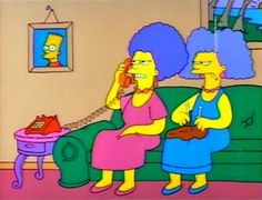 Selma Bouvier knits while Patty speaks to Marge on the phone.
