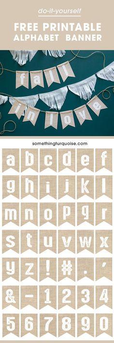 ¡La bandera imprimible libre del alfabeto de la arpillera, la hace decir lo que usted quiere!