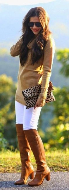#fall #fashion / camel knit + leopard print clutch