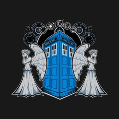 """A Doctor Who t-shirt by Metal Knight/Rob Reep. Don't blink! This shirt actually says """"ANGEL"""" in the ancient language of Gallifrey at the top. Doctor Who Tattoos, Doctor Who T Shirts, Doctor Who Art, 12th Doctor, Day Of The Shirt, Classic Doctor Who, You're Dead, Don't Blink, Torchwood"""