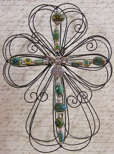 Unique Layered Wire and Bead Cross. $22.50, via Etsy.