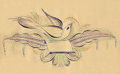 Free Antique Clip Art - Pen Flourished Bird in Color - The Graphics Fairy