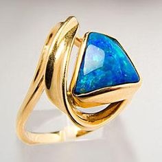 Free Form Australian Opal Cabochon Cocktail Ring 18K Gold